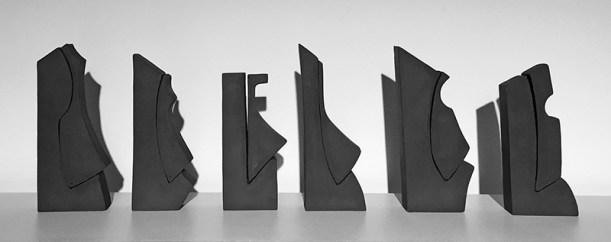 "Alexandra Jelleberg, ""Half a Dozen"" 2016, stoneware, group: 11.5 x 30 x 2""; sculptures: ~11.5 x 4.5 x 2""."