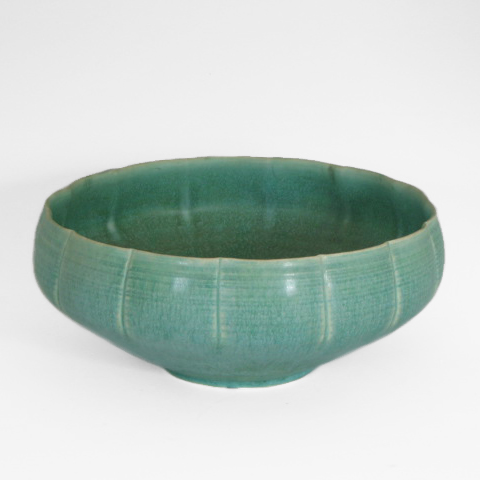 "Laura Andreson, Wide Green Bowl, 4 x 10"", date unknown"