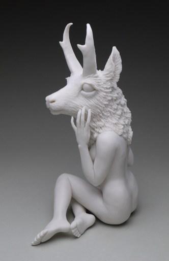 "Crystal Morey, ""New Symbiosis: Pronghorn"" 2017, porcelain, 10.5 x 6 x 4.5""."