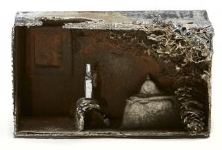 "Beth Lipman, ""Distill #7"" 2016, cast iron with rust patina, chrome, 8 x 12 x 5""."