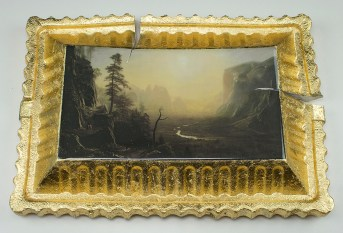 "Evan Hauser, ""Preservation & Use (Yosemite Valley, Glacier Point Trail, 1873, Albert Bierstadt)"" 2017, porcelain, gold leaf, 15 x 11 2.5""."