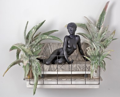"Cristina Córdova, ""Del balcón III"" 2018, ceramic and steel, 33 x 28 x 13"""