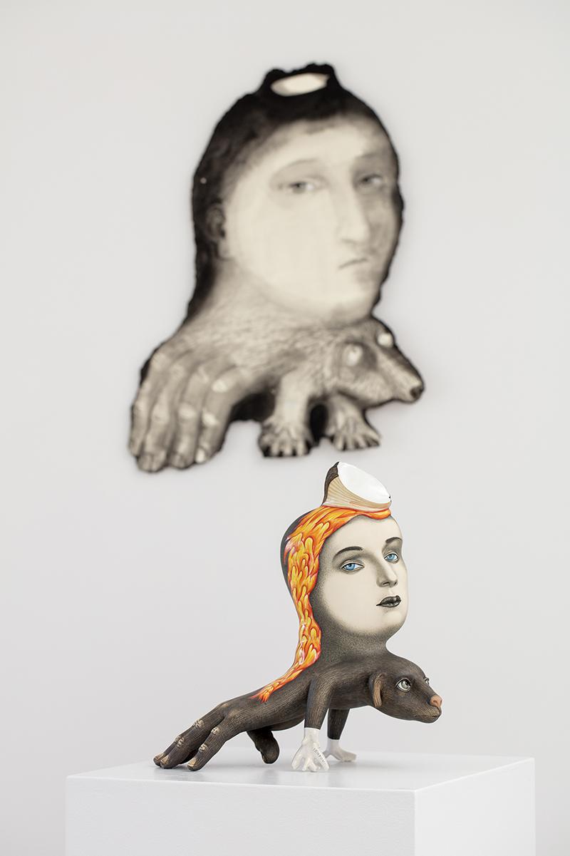 """Sergei Isupov, """"Burden"""" 2018, stoneware, 14 x 13 x 6.5""""."""