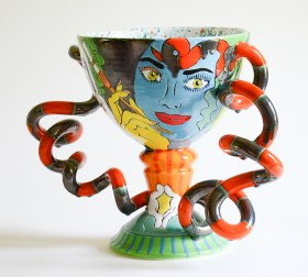 "Phillip Maberry, ""Chalice (Clown), 2003, porcelain, 14.5 x 20.5""."