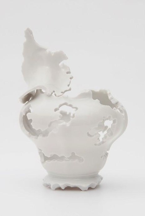 "Elizabeth Alexander,"" Pitch"" 2015, hand cut found porcelain 5.25 x 4 x 4""."