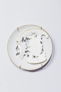 "Elizabeth Alexander, ""Royal Crown Derby"" 2015, hand cut found porcelain 6.5 x 6.5 x 5""."