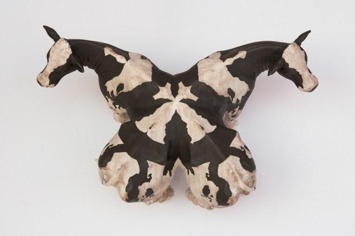 "Elliot Kayser, ""Altered Landscape 2"", 2018, terracotta, underglaze, 10 x 20 x 20""."