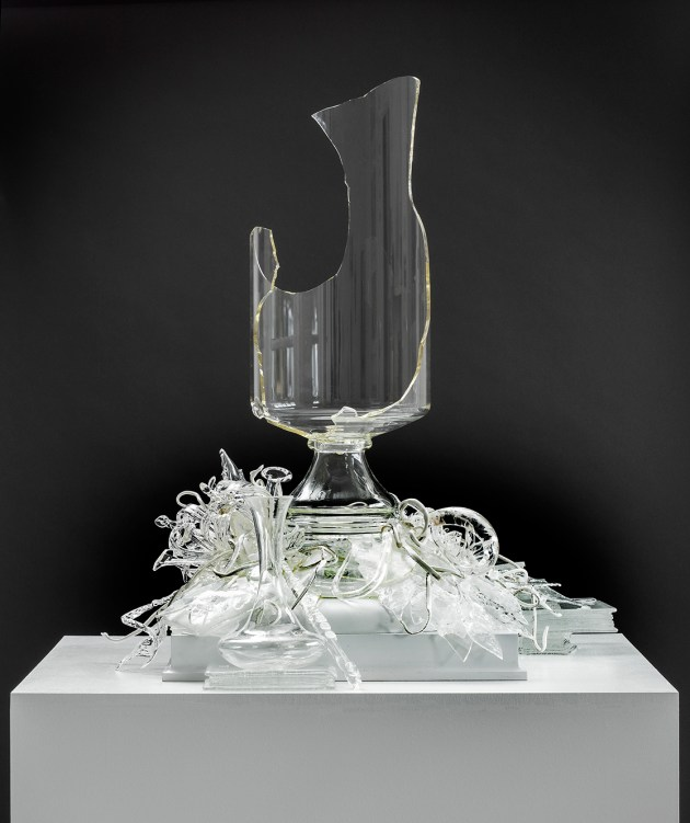 "Bouke de Vries, ""Glass Cloud 2"", 2017, 17th and 18th Dutch archaelogical glass fragments, mixed media, 21.5 x 13 x 13"""