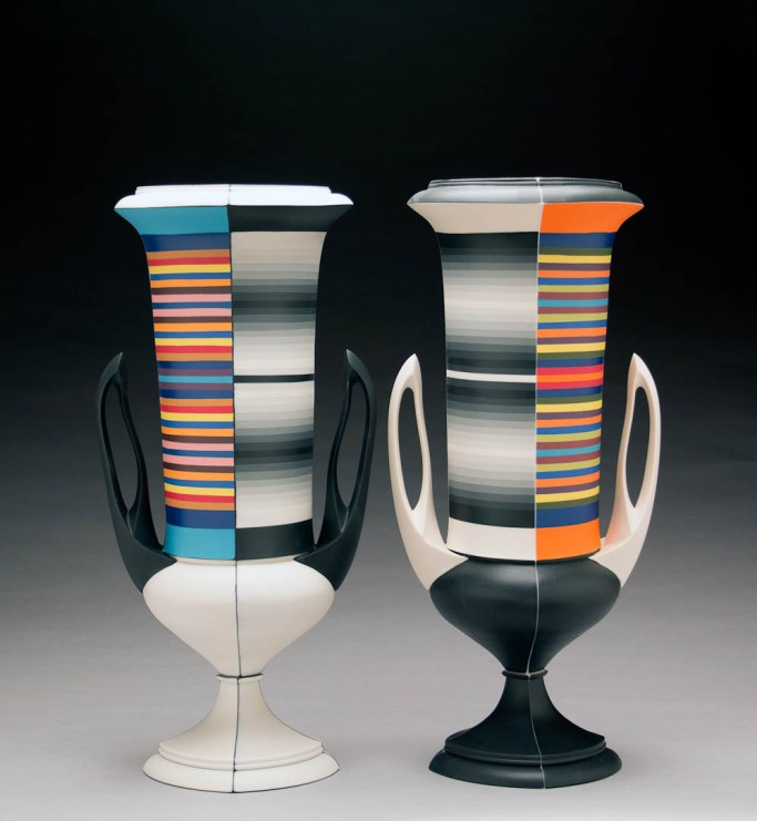 "Peter Pincus, Pair of Wedgwood Kraters, 2018, colored porcelain, 17 x 19 x 7""."