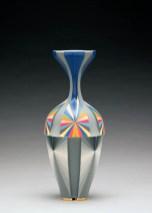"Peter Pincus, Vase, 2018, colored porcelain, 13 x 6 x 6""."