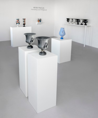 """Peter Pincus: Channeling Wedgwood at Ferrin Contemporary, North Adams, MA, 2018. (Front and Back Right)'Calyx Krater: Excerpt from One Shows Two, Two Influence Twenty', 2018, 12.75 x 10.5 x 10.5"""" (each). (Center Right) 'Relieved', 2018, 17.25 x 9 x 9"""", colored porcelain. (Back Left) 'Wedgwood Krater Pair', 2018, 17.25 x 19 x 7"""" (each), (Back Right)'Teapots', 2018, 10.125 x 5 x 5"""" (each), colored porcelain."""