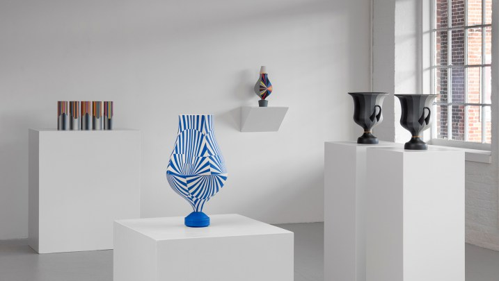 "Peter Pincus: Channeling Wedgwood at Ferrin Contemporary, North Adams, MA, 2018. (Front) Relieved, 2018, 17.25 x 9 x 9"", colored porcelain. (Back Left) The Point of Confusion, 2018, 9.625 x 19 x 3.5"" (total), colored porcelain. (Back Center) Vase, 2018, 15.75 x 8 x 8"", colored porcelain. (Back Right) Calyx Krater: Excerpt from One Shows Two, Two Influence Twenty, 2018, 12.75 x 10.5 x 10.5"" (each)."