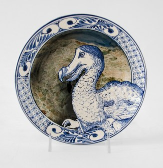 "Stephen Bowers, ""The Dodo's Message"" 2019, white earthenware, under-glaze colors, clear glaze, 8.25 x 8.25 x 1.5""."