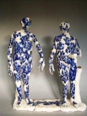 """Claire Curneen, """"Blue"""" 2013, porcelain, cobalt, gold luste, 24 x 21 x 6""""."""