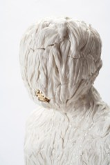 """Claire Curneen, """"Mary Magdalene"""" detail, 2013, porcelain, gold lustre, 22.5""""."""