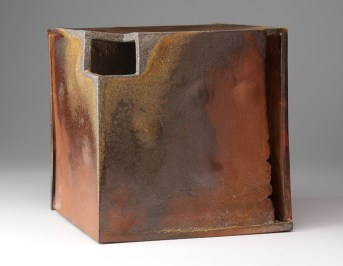 "Malcolm Wright, ""Perfect Cube"" 2007, wood fired stoneware, 11 x 11 x 11""."