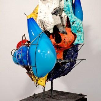 """Raymond Elozua, """"R&D VII, RE-17-1"""" 2014, ceramic, glaze, steel, glass, 38 x 23 x 43"""""""