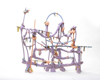 "Lauren Mabry, ""Line Work Stand (Purple)"", 2019, stoneware and glaze, 20 x 19 x 6""."