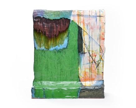 "Lauren Mabry, ""Wavy Green"", 2019, red earthenware, slips and glaze, 20 x 16 x 5.5""."