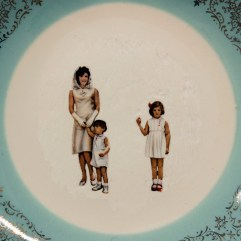 Hollie, Lyko, 2018, dremel-erased JFK & Family collectible plate, circa 1961