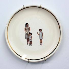 "Hollie Lyko, ""JFK no. 3"", 2018, dremel-erased JFK & Family collectible plate, circa 1961-1963, 9 x 9 x 1""."