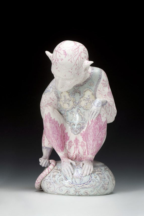"Robin Best, ""The Knight of the Lions"" 2016, porcelain, on-glaze xin cai , 14.1 x 7.9 x 10.25"" ."