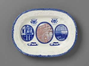 "Paul Scott, ""Scott's Cumbrian Blue(s), New American Scenery, Pattern Sampler No: 4 (Adams)"", in-glaze decal collage on shell-edge, pearlware platter c.1820, 10 x 13 x 1.5""."