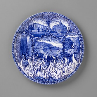 "Paul Scott, 'Scott's Cumbrian Blue(s), New American Scenery, California Wildfires', 2019, in-glaze screen print (decal) on partially erased 'Beauty Spots of California', Staffordshire souvenir transferware plate, 10 x 10 x 1""."