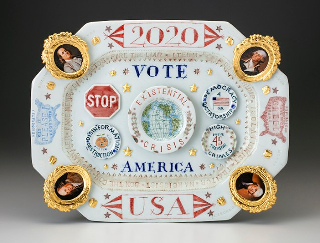 "Mara Superior, ""2020/USA/Vote/America"", 2019, high-fired porcelain, ceramic oxides, underglaze, glaze, ceramic decals, gold leaf, 13 x 16.25 x 2""."