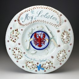 "Mara Superior, ""My Lobster"", 2019, high-fired porcelain, ceramic oxides, underglaze, glaze, overglaze enamel, 16.5 x 16.5 x 1.5''."