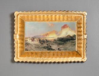 "Evan Hauser, ""Preservation & Use (Green River Cliffs, Wyoming, Thomas Moran, 1881)"", 2018, porcelain, digital ceramic print, gold leaf, 10.5 x 15 x 2.5""."