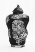 "Kurt Weiser, 'Black and White 1' 2019, porcelain and overglaze enamels, 19.75 x 11.5x 6.5"""""