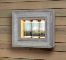 "Evan Hauser, ""American Visions (Newbury Marshes, Martin Johnson Heade, 1865-1875)"", 2018, residential/commercial building materials, porcelain, digital ceramic print, 14 x 19 x 5""."