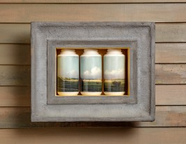 "Evan Hauser, ""American Visions ( Newbury Marshes, Martin Johnson Heade, 1865-1875)"", 2018, residential/commercial building materials, porcelain, digital ceramic print, 14 x 19 x 5""."
