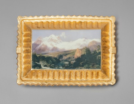"Evan Hauser, ""Preservation & Use (The Teton Range, Thomas Moran, 1897)"", porcelain, digital ceramic prints, gold leaf, 11 x 15 x 2.5""."