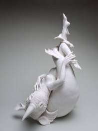 """Crystal Morey, """"Without Borders/ White Rhino Airlift"""" 2020, hand sculpted porcelain, 16.5 x 13.5 x 10""""."""