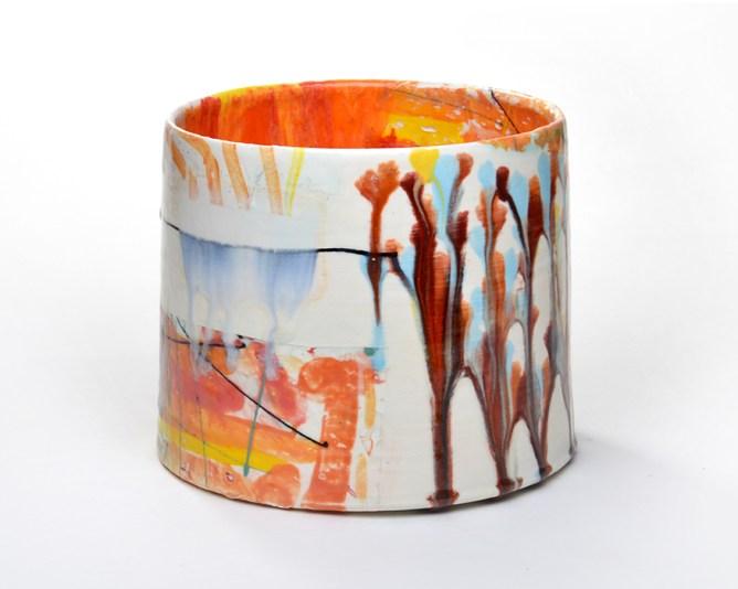 "Lauren Mabry, ""Cylinder 20.01"" 2020, earthenware, slip, glaze, 8 x 8 x 5""."