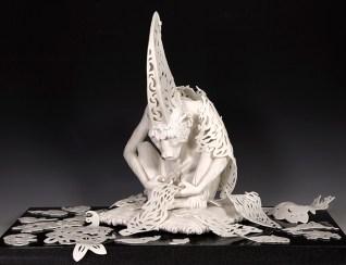 """Tricia Zimic, """"Diligence"""", 2019, porcelain, sculpture 15 x 9 x 9.25"""", granite pedestal 22 x 22""""."""