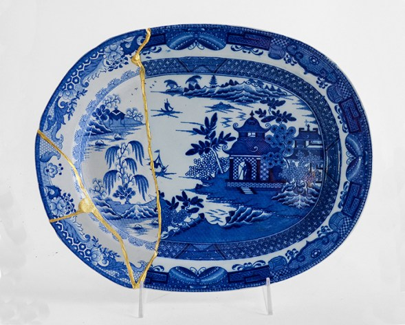 Scott's Cumbrian Blue(s), Garden No:2 (after Turner and Stephenson). Collage - Staffordshire transferware with Chinese porcelain, tile cement, epoxy resin and gold leaf, 32cm x 26cm.. Paul Scott, 2104.