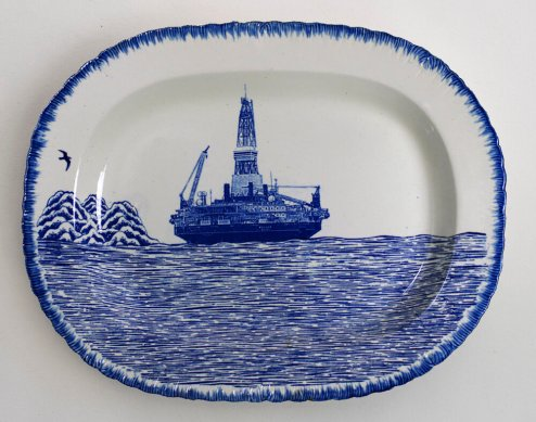 Scott's Cumbrian Blue(s) Arctic Scenery, Kulluk. Inglaze decal collage and gold lustre on shell edged pearlware platter, c.1820, 37cm x 29cm. Paul Scott 2014.