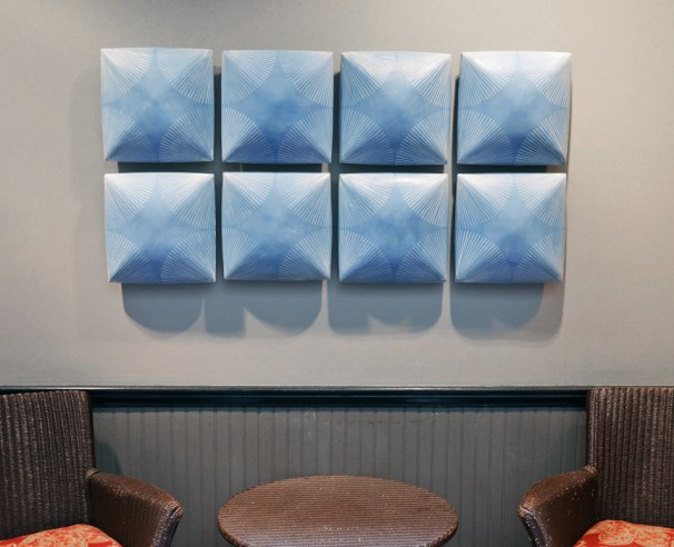 "Giselle Hicks, ""Blue Wall Tiles with Radial Pattern"", 2019, slip-cast porcelain, inlaid slip, 24 x 48 x 3""."