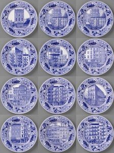 Scott's Cumbrian Blue(s), New American Scenery, Fleurs.de.sel's New York, LaundryProject23, a set of twelve plates. In-glaze screen print (decal) on salvaged Syracuse China with pearlware glaze. Paul Scott 2019.