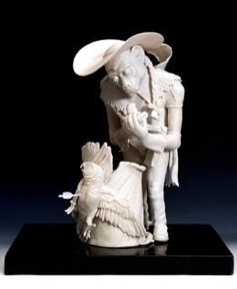 "Tricia Zimic, ""Kindness"", 2019, porcelain, glaze, granite pedestal, 7.5 x 11 x 16""."