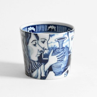 "Kurt Weiser, ""Blue and White Cup 1"", 2019, porcelain, glaze, 3.5 x 4 x 4"""