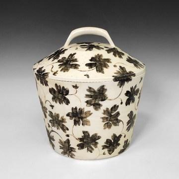 "Linda Sikora, ""Bucket Jar"", 2019, porcelain, underglaze, salt glaze, 11 x 10.5 x 10.5"""
