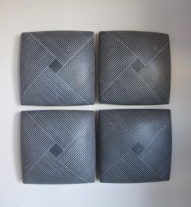"Giselle Hicks, ""Grey Tiles with Weaving Pattern"", 2019, slip cast porcelain, 20 x 20 x 2""."