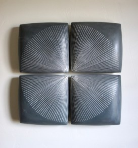 "Giselle Hicks, ""Grey Tiles with Radial Pattern"", 2019, slip cast porcelain, 20 x 20 x 2""."