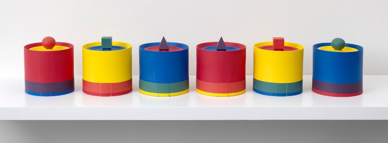 "Peter Pincus, ""Jar Drawing #2: Assignments and Arrangements"", 2020, colored porcelain, 7 x 5 x 6"" (each)"
