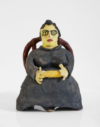 "Beatrice Wood, ""Aunt with Rolling Pin"", mid 1980s, terracotta, glaze, 7 x 4.75 x 4""."