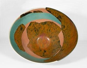 """Wayne Higby, """"Landscape Vessel"""", 1985, glazed earthenware, 11.25 x 17 x 17""""."""